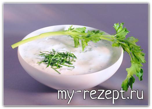 Сметанно чесночный соус с зеленью