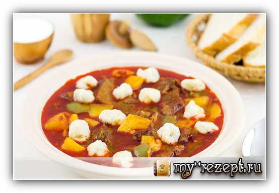 Гуляш по-венгерски, суп с клёцками
