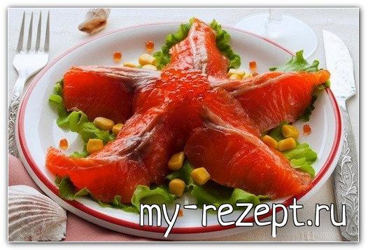 Салат морская звезда с икрой