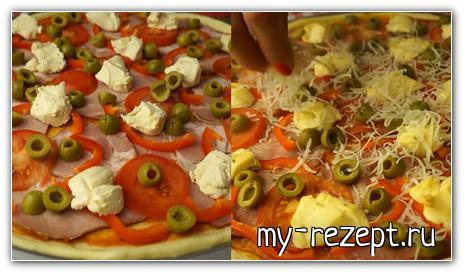Рецепт пиццы на слоеном дрожжевом тесте с грибами