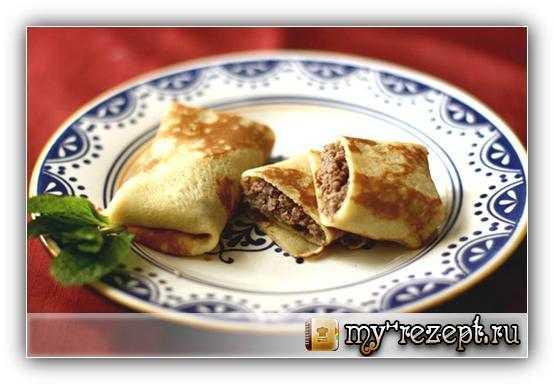 Блинчики с мясом рецепт с фото пошагово!