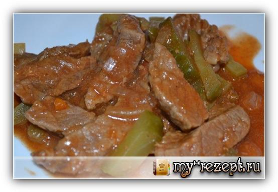 рецепт мяса тушеного с солеными огурцами